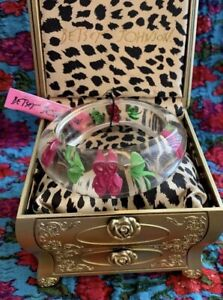 KNWT Betsey Johnson Vintage Lucite Roses Bangle Bracelet