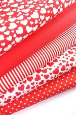 "Hearts Fabric Bundle Fat Quarters Polycotton 21"" 55cm Craft Bunting Valentines"