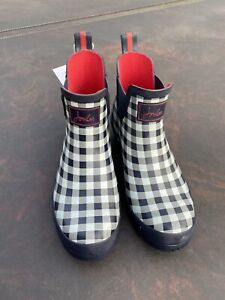 Joules Size 8 Gingham Print White Grey & Navy Wellibobs See Description