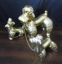 Lipper & Mann Gold Porcelain Mom Poodle Dog & Puppies on Chain Figurine Japan