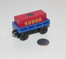 Thomas & Friends Wooden Railway Train Tank Engine - Blue Car w/ Red Sodor Cargo