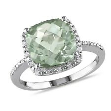 4.104 Ct TW Diamond and Green Amethyst Fashion Ring In Sterling Silver GH I3