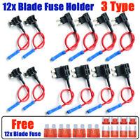 12PCS Car Add-A-Circuit Fuse Tap Adapter Mini Standard ATM APM Blade Fuse Holder