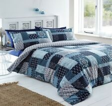 Remi Teal Blue Abstract Ethnic Indian Patchwork Double Duvet/Quilt Cover Bed Set