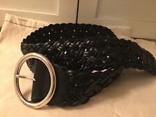New Wide Black Leather Woven belt from Calvin Klein Size Large
