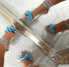 baby blue high heels frilll detail lace up the leg size 5 simmi shoes