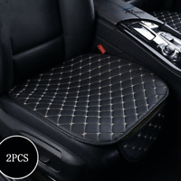 2pcs Universal Front Car Seat Cover Breathable PU Leather Pad Mat 3D Black White