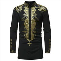 African Print Men Dashiki Fashion Tribal Stand Collar Long Sleeve Top Plus Size