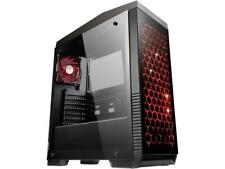 NEW DIYPC DIY-G5-BK Black USB 3.0 ATX Tempered Glass/Steel Mid Tower Gaming Case