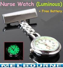 Nurse Nursing Chain Brooch Luminous Glow in Dark Face Pendant Fob Pocket Watch