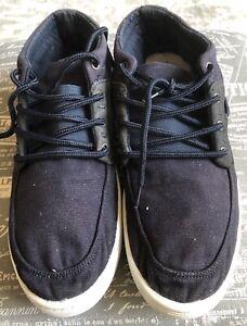 Mens Quicksilver Skate Shoes Size 11 Navy Blue Suede & Canvas Surf Rare