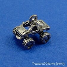 Silver MONSTER TRUCK CHARM Vehicle Rally Race Car PENDANT