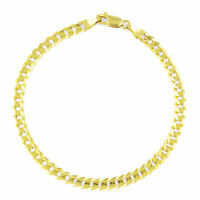 """Real 14K Yellow Gold 4.5mm 8in Cuban Curb Chain Link Bracelet Lobster Clasp- 8"""""""