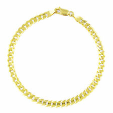 Real 14K Yellow Gold 4.5mm 8in Cuban Curb Chain Link Bracelet Lobster Clasp- 8""