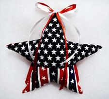 """HAND~CRAFTED  6"""" PATRIOTIC FABRIC STAR CHRISTMAS TREE TOPPER~NEW"""