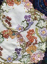 Vintage Bright Hand Embroidered Linen Doiley Set Duchess Set