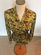 Dana Buchman Womens 2 Long Sleeve Green Fitted Blouse Button Down / Collar $178