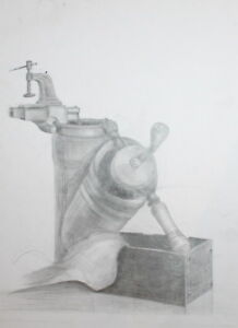 VINTAGE PENCIL DRAWING STILL LIFE FOOD GRINDER MILL