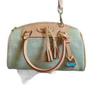 Dooney & Bourke Domed Satchel Handbag Blue Signature Logo Tassel S New