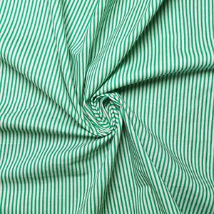 """Vintage 100% cotton fabric - Stripe design - Off-white and green - 60"""" wide"""