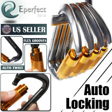 30KN Auto Locking Carabiner Clip Stainless Steel D-Shape Hook for Climbing Rock