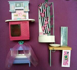 Barbie Doll Dream House Furniture Sink Mirror Shower Chair & Kitchen Unit
