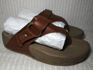 Skechers Womens Leather Thong Sandals Sz 6 Brown 38858 Relaxed Fit Shoes Slip on