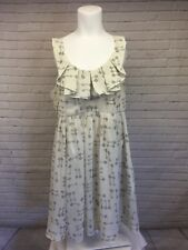 Ted Baker Size 4 | US 10 | Key Print Cream White & Gray Formal Full Skirt Dress