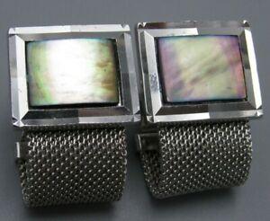 Mens Vintage Jewelry MAUVE MOTHER OF PEARL MESH WRAP AROUND CUFFLINKS U35