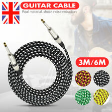"""Premium Tweed Guitar Bass Lead 6.35mm 1/4"""" Angled Jack Braided Instrument Cable"""