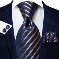 Mens Silk Ties Necktie EXTRA LONG Navy Blue Brown Striped Hankie Set Wedding US