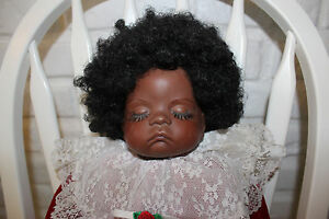 1986 Dark Skin Sugar Britches Boots Tyner Reproduction Sleeping  Porcelain Baby
