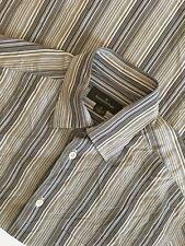 Ermenegildo Zegna Hidden Button Down Collar Shirt sz M Beige White Blue