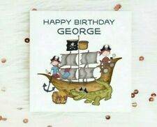 Personalised Birthday Card Pirate Boy Girl Any Name Custom Son Daughter Brother