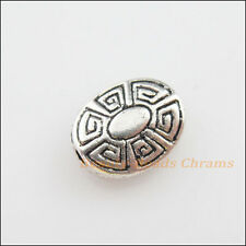 6Pcs Tibetan Silver Tone Flower Oval Flat Spacer Beads Charms 9x11mm