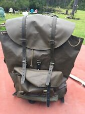 Vintage Swiss Army Rubberized Military Backpack Leather Bottom Rucksack