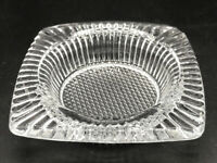 Vintage Unique Texture Square Heavy Pressed Glass Clear Ashtray. 3 Inch Diameter