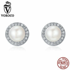 VOROCO Freshwater Pearl Earring Stud 925 Sterling Silver With small CZ Surround