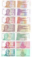Croatia 1 + 5 + 10 + 25 + 100 + 50k + 100k Dinara 1991-93 Set of 7 Banknotes UNC