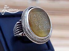 Old Ring 925 Sterling Silver real Yemeni Aqeeq seal Shia talisman amulets stone