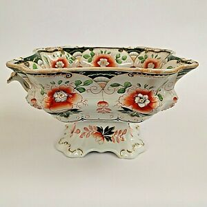 Hicks & Meigh Staffordshire Stone China Tureen Green Red Antique a/f