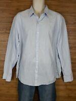 Zachary Prell Mens Blue Striped Linen Blend Button Front Shirt Size XL EUC