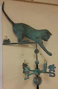 Cat and mouse antique finish copper weathervane,no roof mount Highest quality.
