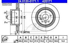 ATE Juego de 2 discos freno 286mm ventilado para OPEL OMEGA VAUX 24.0120-0171.1