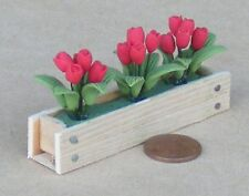 1:12 Scale Red Tulips In A Wooden Window Box Tumdee Dolls House Flower Garden