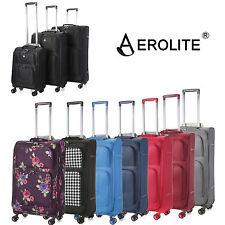Aerolite Plain Black Luggage Spinner Premium Lightweight Suitcase 8 Wheel Roller
