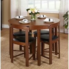 NEW Complete 5 Pc Set Compact Space Saving Dining Room Table Padded Seat Round