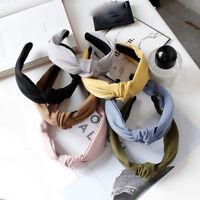 Ladies twist knot pattern headband elastic head wrap turban hair band 55 Colors