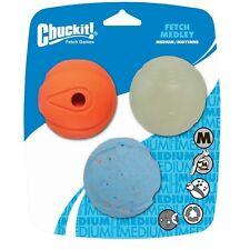 Chuckit! Dog Fetch Toy MEDLEY 3-pack Whistler Max Glow Rebounce Ball MEDIUM