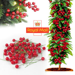 100pcs Red Berries Artificial Fake Fruits Christmas Craft Holly Berry Pick Decor